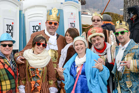 satirical: Tesserete, Switzerland - 13 February 2016: people posing at the carnival of Tesserete on the italian part of Switzerland