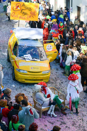 Tesserete, Switzerland - 13 February 2016: people marching in the parade of the carnival at Tesserete on the italian part of Switzerland Editorial