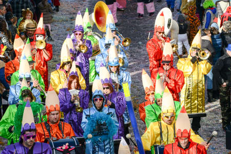 newsworthy: Tesserete, Switzerland - 13 February 2016: people marching in the parade of the carnival at Tesserete on the italian part of Switzerland Editorial