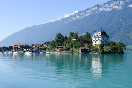View at the village of Iseltwald on lake Brienz, Switzerland
