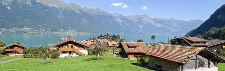 canton berne: Rural scenery of Iseltwald in Jungfrau region, near lake Brienz on Switzerland Editorial