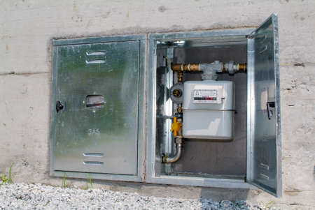 gas distribution: Natural gas meter, cabinet with gauge, counter for distribution domestic gas Stock Photo