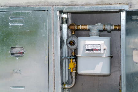 gas distribution: Natural gas meter, cabinet with gauge, counter for distribution domestic gas Editorial