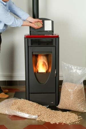 Modern domestic pellet stove with a burning flame and bags full of particle pellets Archivio Fotografico
