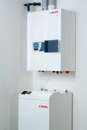 Lugano, Switzerland - 27 May 2005: White home gas-fired boiler Editorial