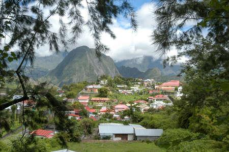 Het dorp Hell Bourg op de bergen van La Reunion eiland, Frankrijk Stockfoto