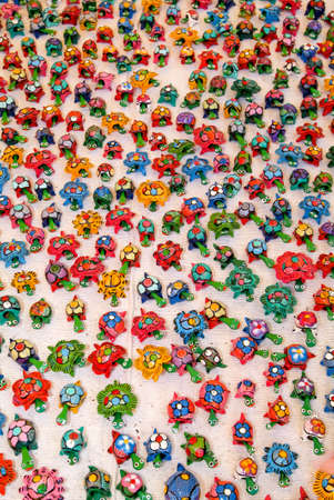 multitude: Multitude of toy turtles at the market on La reunion island, France