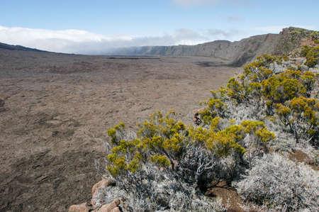 switchback: Piton de la Fournaise volcano on La Reunion island on indian ocean, France