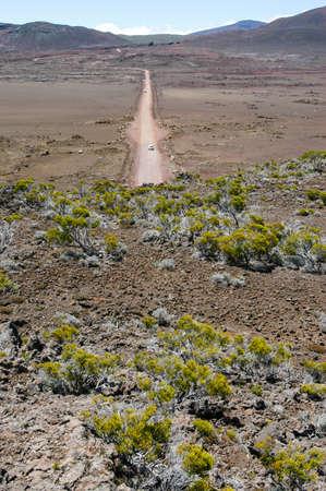 switchback: Road to Piton de la Fournaise volcano on La Reunion island on indian ocean, France