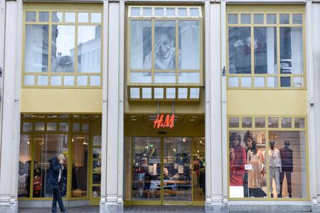 hm: St. Gallen, Switzerland - 23 November 2016: H&M fashion clothes store on the mall of St. Gallen on Switzerland