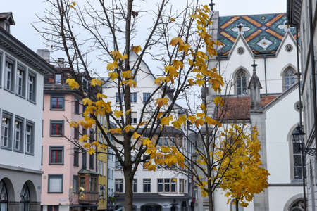 chiming: St. Gallen, Switzerland - 23 November 2016: the central square at the old town of St. Gallen on Switzerland