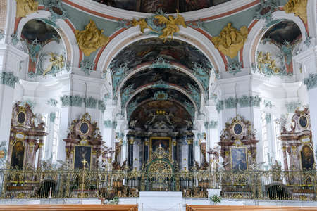 st: Interiors of the Abbey at St. Gallen on Switzerland
