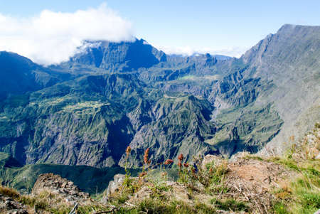 View into the interior of Reunion Island in the Cirque de Mafate from Maido viewpoint