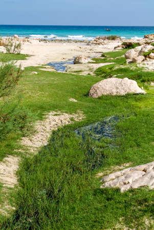 Arher (Socotra island) - 15 January 2008: freshwater stream that flows into the sea at Arher beach on Socotra island, Yemen