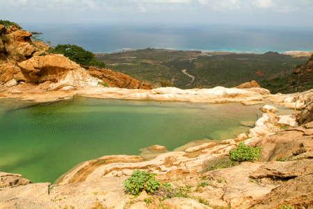 The mountain lake of Homhil on the island of Socotra, Yemen