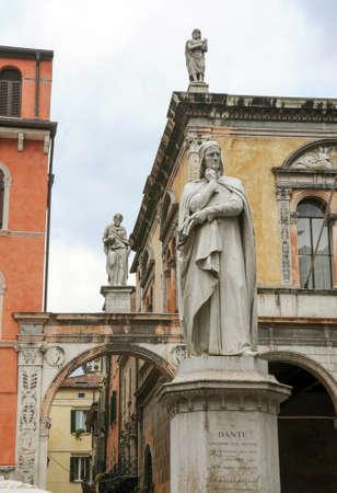 dante alighieri: The statue of the famous italian poet Dante Alighieri in Lords Square at Verona on Italy