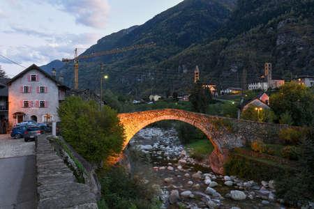 Roman bridge at Giornico on Leventina valley, Switzerland