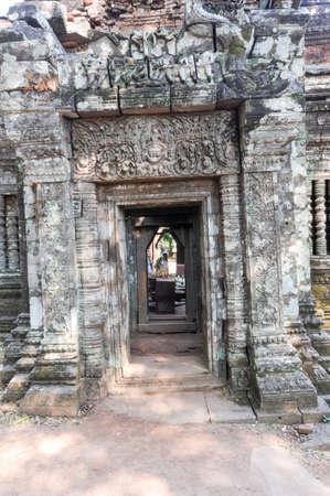 phu: Detail of Wat Phu temple in Champasak on Laos Stock Photo