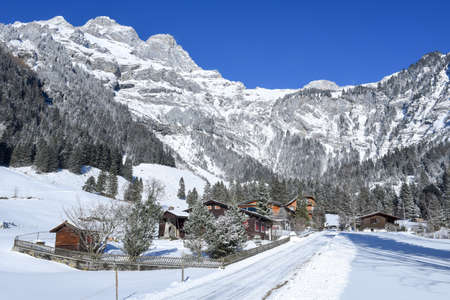 Rural winter landscape of Engelberg on the Swiss alps