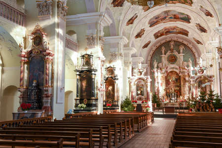 architecture monumental: Interior of the church at Engelberg on Switzerland