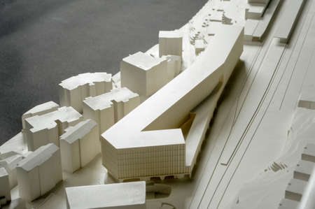 architectural studies: Lugano, Switzerland - 11 June 2013: Site surrounding model for architectural presentation of the area near the railway station of Lugano on Switzerland Editorial