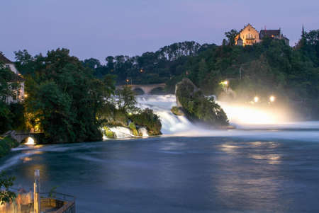 The Rhine waterfalls at Neuhausen on Switzerland by night Stock Photo