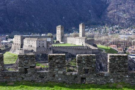 Castelgrande castle at Bellinzona on the Swiss alps, Unesco world heritage Stock Photo