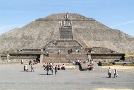 ancient civilisations: Teotihuacan, Mexico - 10 january 2009: people walking in front of sun pyramid at Teotihuacan en Mexico