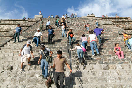 ancient civilisations: Teotihuacan, Mexico - 10 january 2009: people going up and down stairs of moon pyramid at Teotihuacan en Mexico
