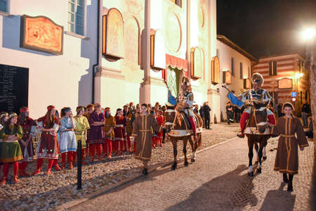 Mendrisio, Switzerland - 13 April 2017: annual procession of the crucifixion of Jesus Christ at easter in Mendrisio on Switzerland