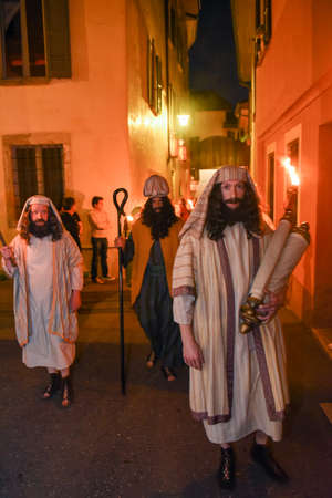 judah: Mendrisio, Switzerland - 13 April 2017: annual procession of the crucifixion of Jesus Christ at easter in Mendrisio on Switzerland