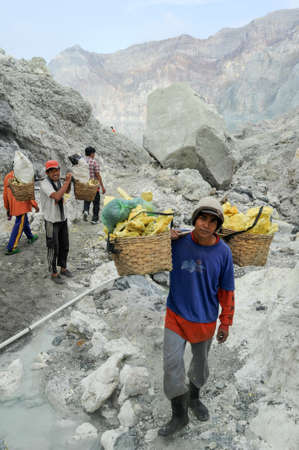 Vulcano Ijen, Indonesia - 5 February 2013: Miners with their sulfur crops climb the ijen crater on the island of Java, Indonesia Editorial