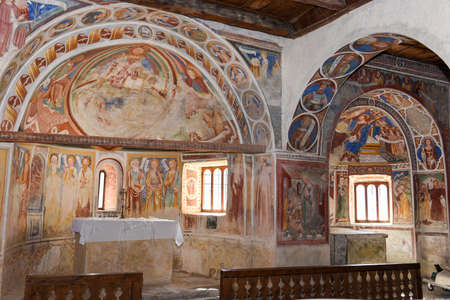 Leontica, Switzerland - 17 April 2017: the frescoes inside the church of San Carlo di Negrentino in Leontica on canton Ticino, Switzerland