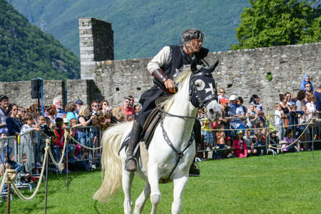 Bellinzona, Switzerland - 21 May 2017: exhibition of medieval knights at Castelgrande castle at Bellinzona on the Swiss alps