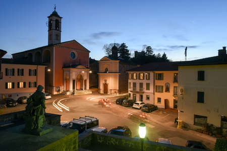 Stebio, Switzerland - 9 March 2017: the old central square of Stabio on the italian part of Switzerland