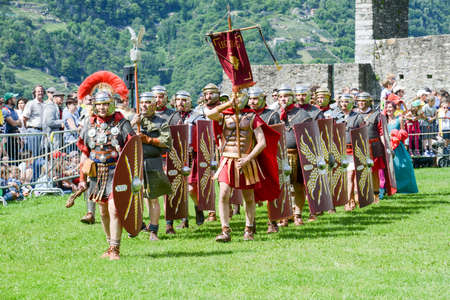 Bellinzona, Switzerland - 21 May 2017: Exhibition of Roman centurions at Castelgrande castle in Bellinzona on the Swiss alps