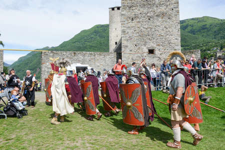 replica: Bellinzona, Switzerland - 21 May 2017: Exhibition of Roman centurions at Castelgrande castle in Bellinzona on the Swiss alps