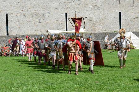 historical battle: Bellinzona, Switzerland - 21 May 2017: Exhibition of Roman centurions at Castelgrande castle in Bellinzona on the Swiss alps