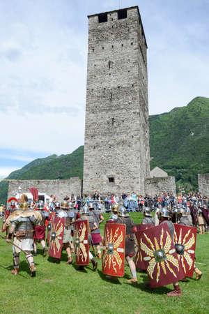 Bellinzona, Switzerland - 21 May 2017: Exhibition of Roman centurions at Castelgrande castle in Bellinzona on the Swiss alps