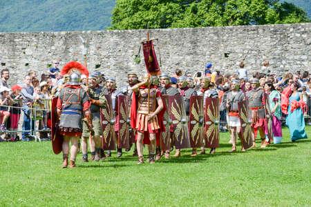 troop: Bellinzona, Switzerland - 21 May 2017: Exhibition of Roman centurions at Castelgrande castle in Bellinzona on the Swiss alps