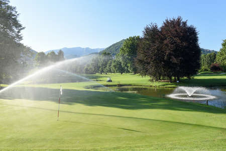 Irrigation of the golf course at Magliaso on Switzerland Editorial