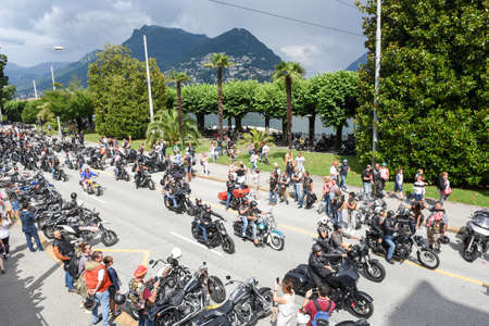 Lugano, Switzerland - 1 July 2017: Bykers of the parade at the Swiss Harley Days in Lugano on Switzerland Editorial