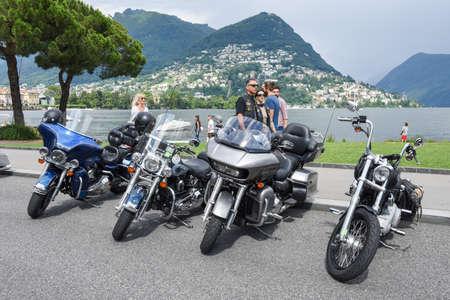 Lugano, Switzerland - 1 July 2017: Harley Davidson motorbike at the Swiss Harley Days in Lugano on Switzerland