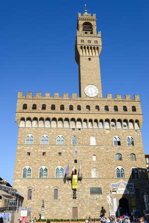 Palazzo Vecchio, the town hall of Florence on Italy. Editorial