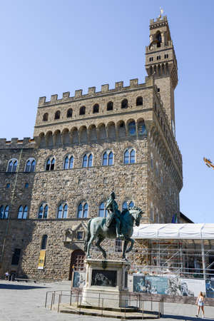 Firenze, Italy - 5 July 2017: statue in front of Palazzo Vecchio the town hall at Florence on Italy. Editorial