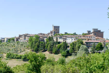 Castellina in Chianti, Italy - 7 July 2017: the rural village of Castellina in Chianti on Tuscany, Italy