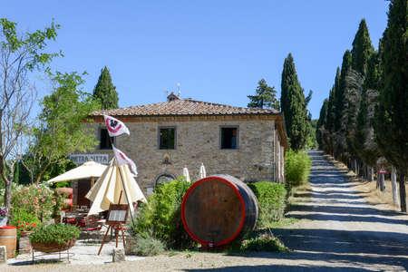 Castellina in Chianti, Italy - 7 July 2017: vine shop near Castellina in Chianti on Tuscany, Italy