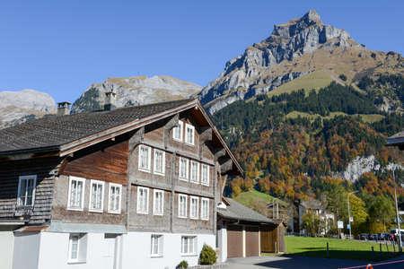 Engelberg, Switzerland - 15 October 2017: wooden chalet at Engelberg on the Swiss alps