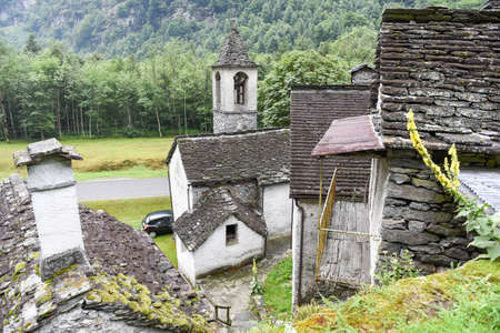 Fontana, Switzerland - 20 July 2017: traditional rural village of Fontana on the Swiss alps Editorial
