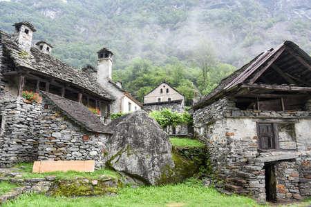 Fontana, Switzerland - 20 July 2017: traditional rural village of Fontana on the Swiss alps Publikacyjne